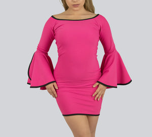 Sweet Pink Formal Fitted Dress with Butterfly sleeves by Smart Marché