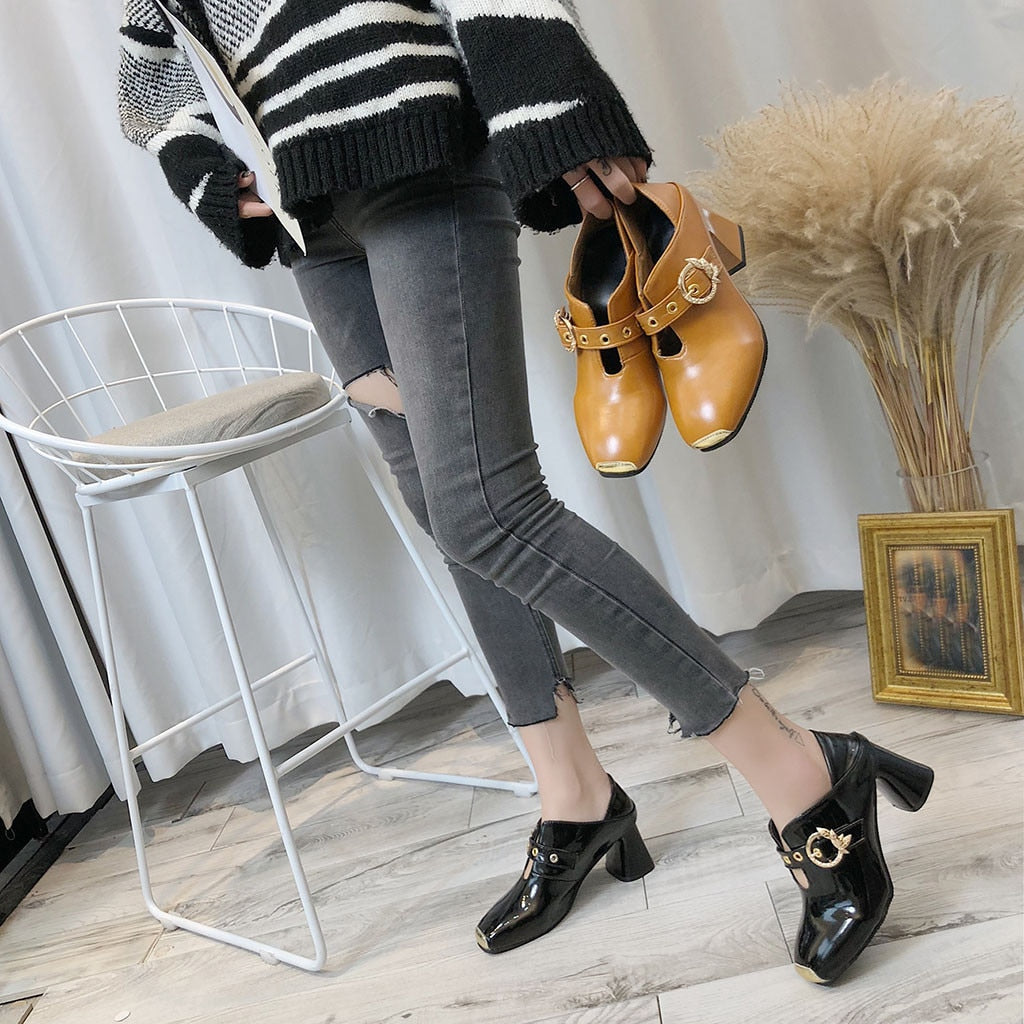 Newest Woman Shoes Fashion Slip-On Square Toe High Heel Work Shoes Casual Shoes Ladies Laether Wild Single Shoes High Quality