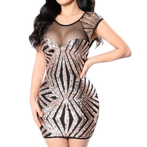 Women's Sexy Women Sequins Sleeveless Perspective Party Mini Bodycon Dress