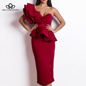 Spring Strapless Women Solid A-Line Party Dress Sexy Dress