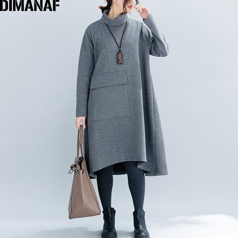 DIMANAF Women Big Sizes Dresses Winter Thick Cotton Female Loose Clothing Casual Lady Vestidos Turtleneck Striped Pockets Dress