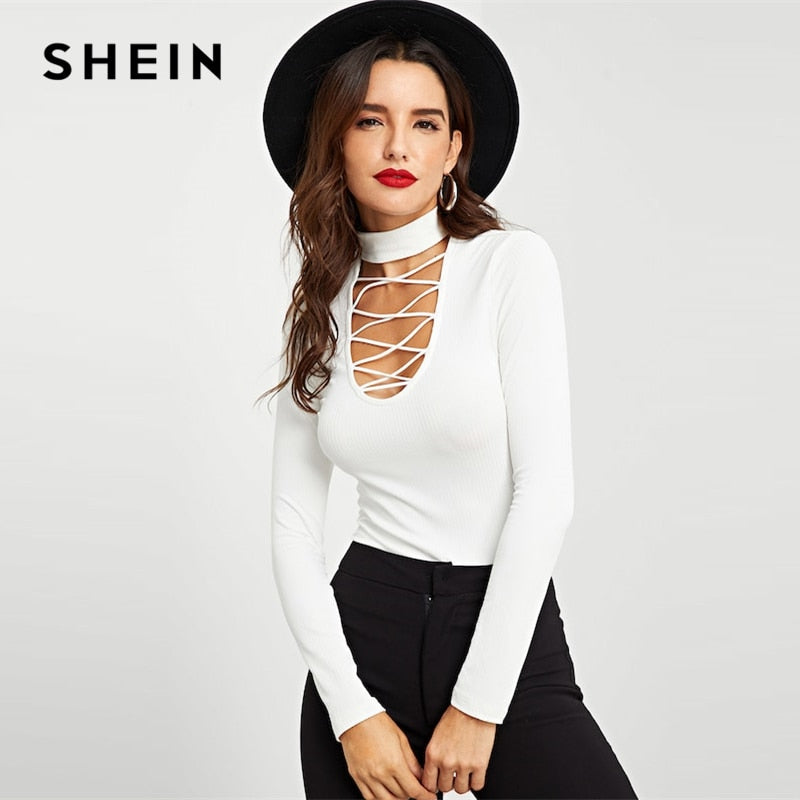 SHEIN White Crisscross Choker Neck Ribbed Knit Slim Fit Plain Top Stand Collar Party Tee Women 2019 Spring T-shirt Tops