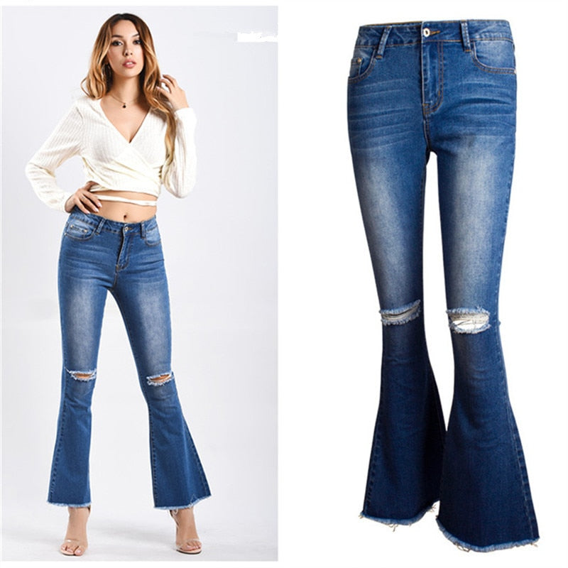 Plus Size 2018 Sexy Vintage Distressed Mom Jeans for Women Denim Flare Pents Ripped Jeans for Women