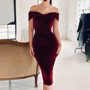 Women Sexy Off Shoulder Velvet Midi Dress Spring Summer Wrap Bodycon Elegant Party Dress Slash Neck Robe Dresses Female Vestido