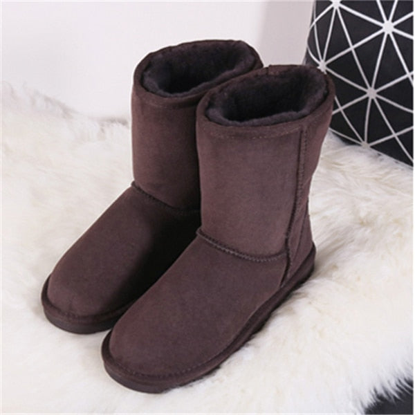 G&Zaco Luxury Sheepskin Snow Boots Winter Sheep Fur Wool Snow Boots Classic Thick  Middle Button Women Leather Wool Boots Shoes