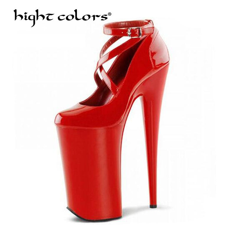 Size 34-43 Super High Thin Heels Shoes Spring Autumn Red Pumps T-strap Buckle Strap Retro Round Toe Pumps Wedding Shoes Women