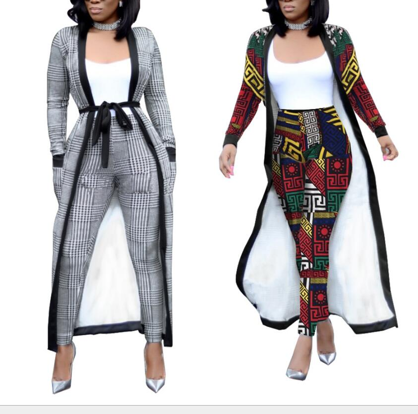 Spring sexy slim long windbreaker jacket large size stretch pencil pants two-piece 2018 autumn geometric pattern set