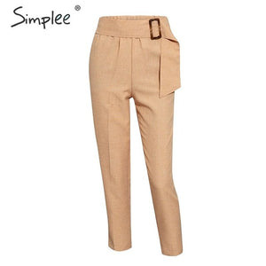Simplee Elegant high waist female harem women pants Solid sashes khaki pants Harajuku fitness office ladies trousers femme pants