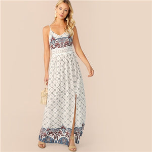 6e7ac2c89a SHEIN Boho White Lace Insert Paisley Print Split Maxi Cami Summer Maxi Dress  Women Fit and
