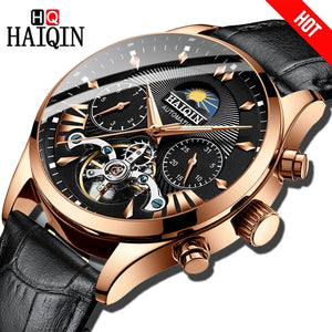 HAIQIN Dress Men Watch luxury Automatic Mechanical brand Business Watch Men Leather sport's Waterproof Male Wrist watch Relogio