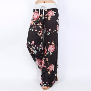 Women Print Boot Cut Pant High Waist Elastic Wide Leg Pants Lace Up Fitness Loose Gym Sports Yoga Pant Streetwear Plus Size 0-16