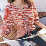 Mishow women Shirts Spring Autumn 2018 New Loose female V Neck Plaid casual Puff Sleeve tops MX18C4595