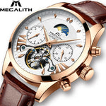 MEGALITH Men Fashion Automatic Mechanical Watch Waterproof Luminous Auto Date Week Moon Phase Watches Men Sport Tourbillon Clock