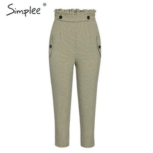 Simplee Plaid work pants women Ruffle high waist zipper harem pants capris female Vintage button ladies autumn trousers 2019