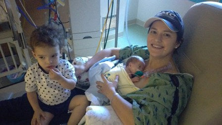 The Zaky ZAK allowed Daniela to care for her preemie and her toddler at the same time.