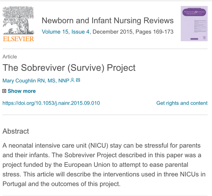 Publication: Kangaroo Care Implementation - Quality Improvement Project in NICUs in Portugal.
