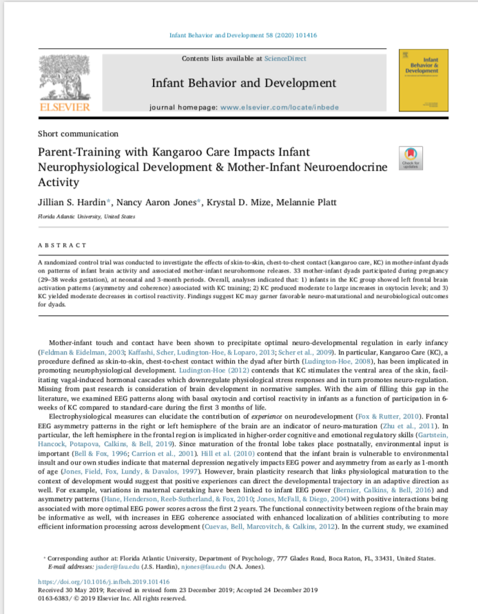 Parent-Training with Kangaroo Care Impacts Infant Neurophysiological Development & Mother-Infant Neuroendocrine Activity