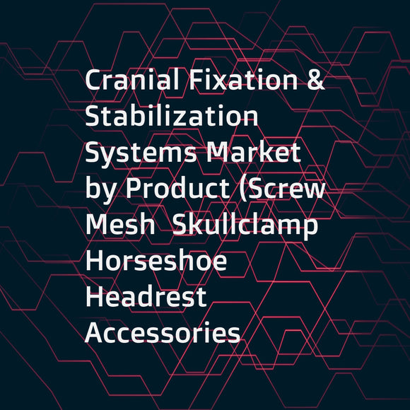 Cranial Fixation & Stabilization Systems Market by Product (Screw  Mesh  Skullclamp  Horseshoe Headrest  Accessories  Adaptor  Arms  Base units)  Material (Nonresorbable  Resorbable)  End User (Hospitals  ASC)  and Region - Global Forecast to 2022