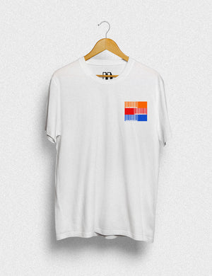 Hipland Barcode Left Chest unisex t-shirt in white