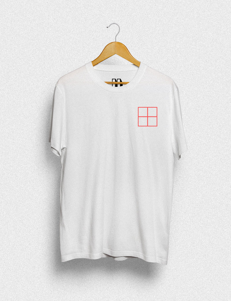 Hipland Bright Red Square unisex t-shirt in white