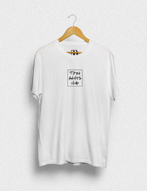 Hipland Box Tired Adult Club unisex t-shirt in white