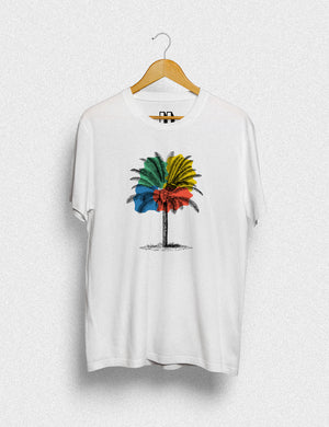 Hipland Tree Multicolor unisex t-shirt in white