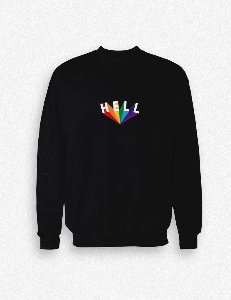 Hipland Hell logo unisex sweatshirt in white, black