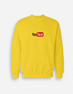 Hipland YouTwat YouTube logo unisex sweatshirt in white, gold