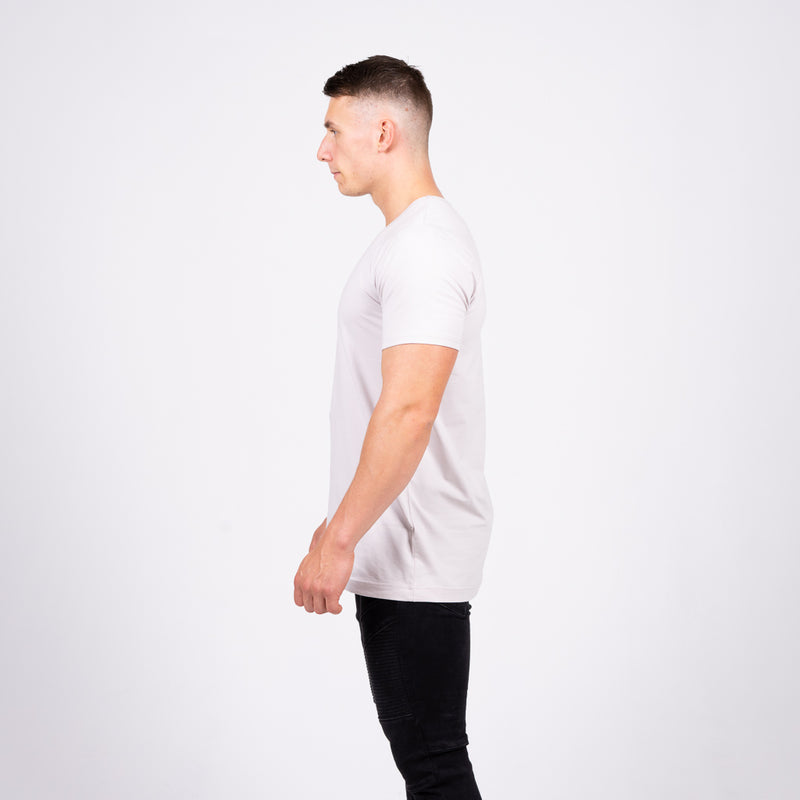 grey short sleeve long line fit stretch tee t-shirt