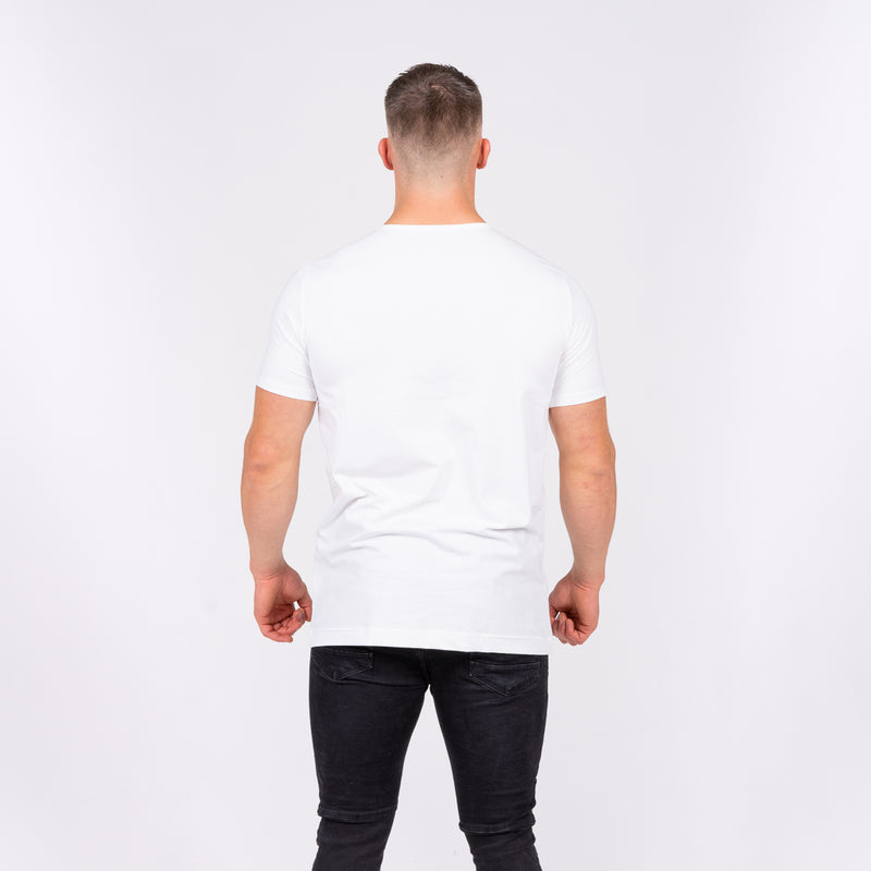 white short sleeve long line fit stretch tee t-shirt