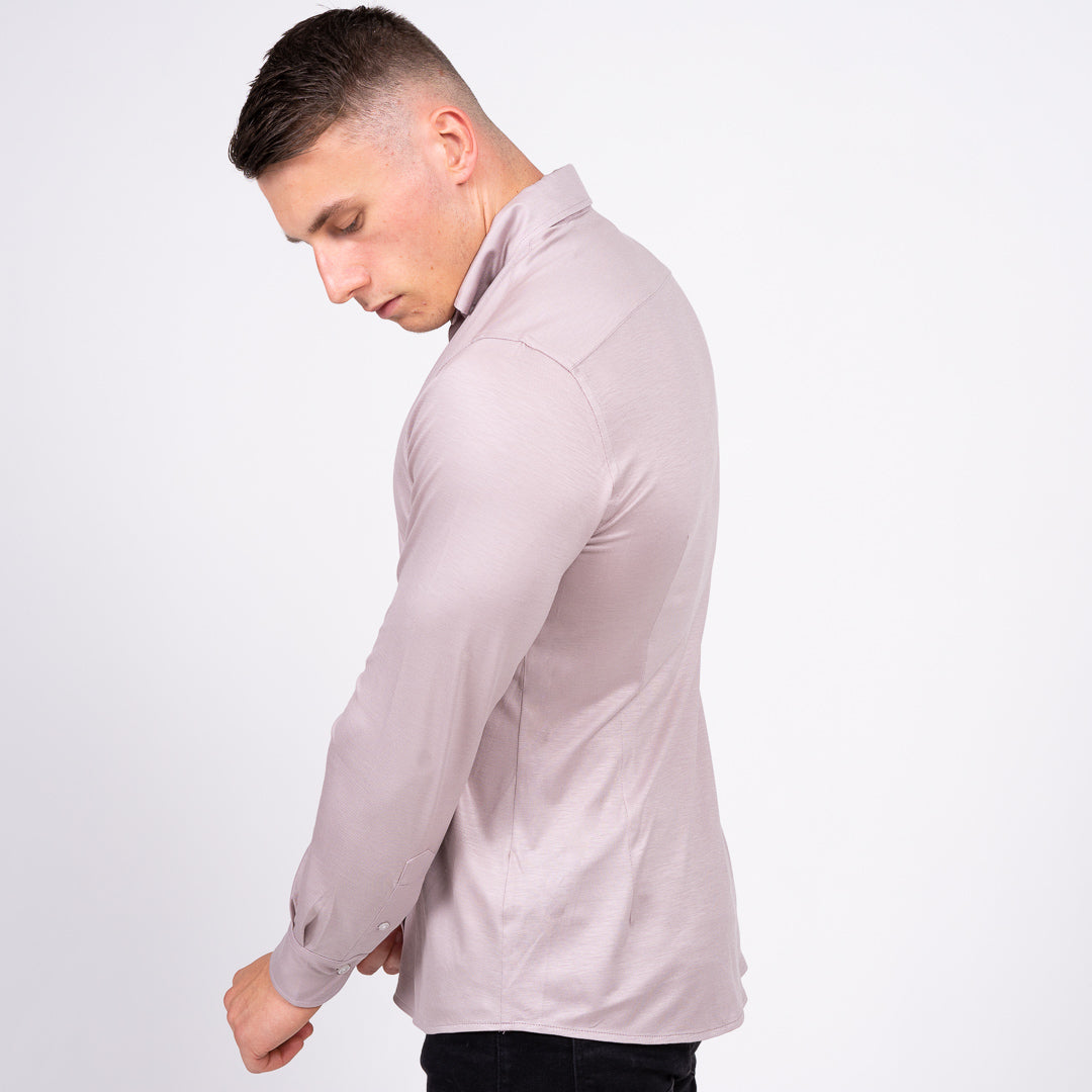 grey stretch non iron tailored men's dress shirt