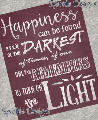 Dumbledore Happiness quote - Harry Potter 133 Art Print