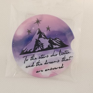 Sandstone Car coaster - To the stars who listen and the dreams that are answered
