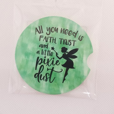Sandstone Car coaster - Tinker Bell - Faith Trust and Pixie Dust