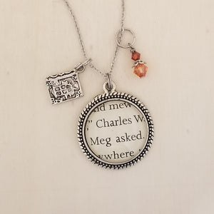 A Wrinkle in Time book charm necklace
