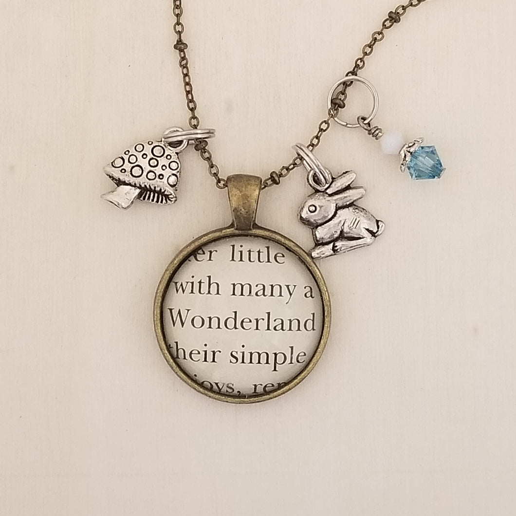 Alice in Wonderland book charm necklace