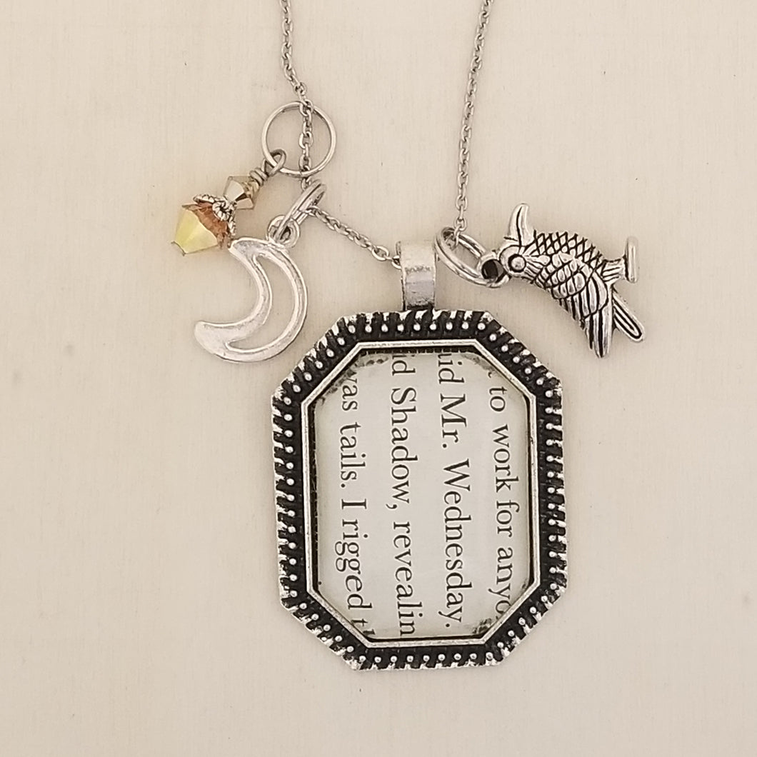 American Gods book charm necklace