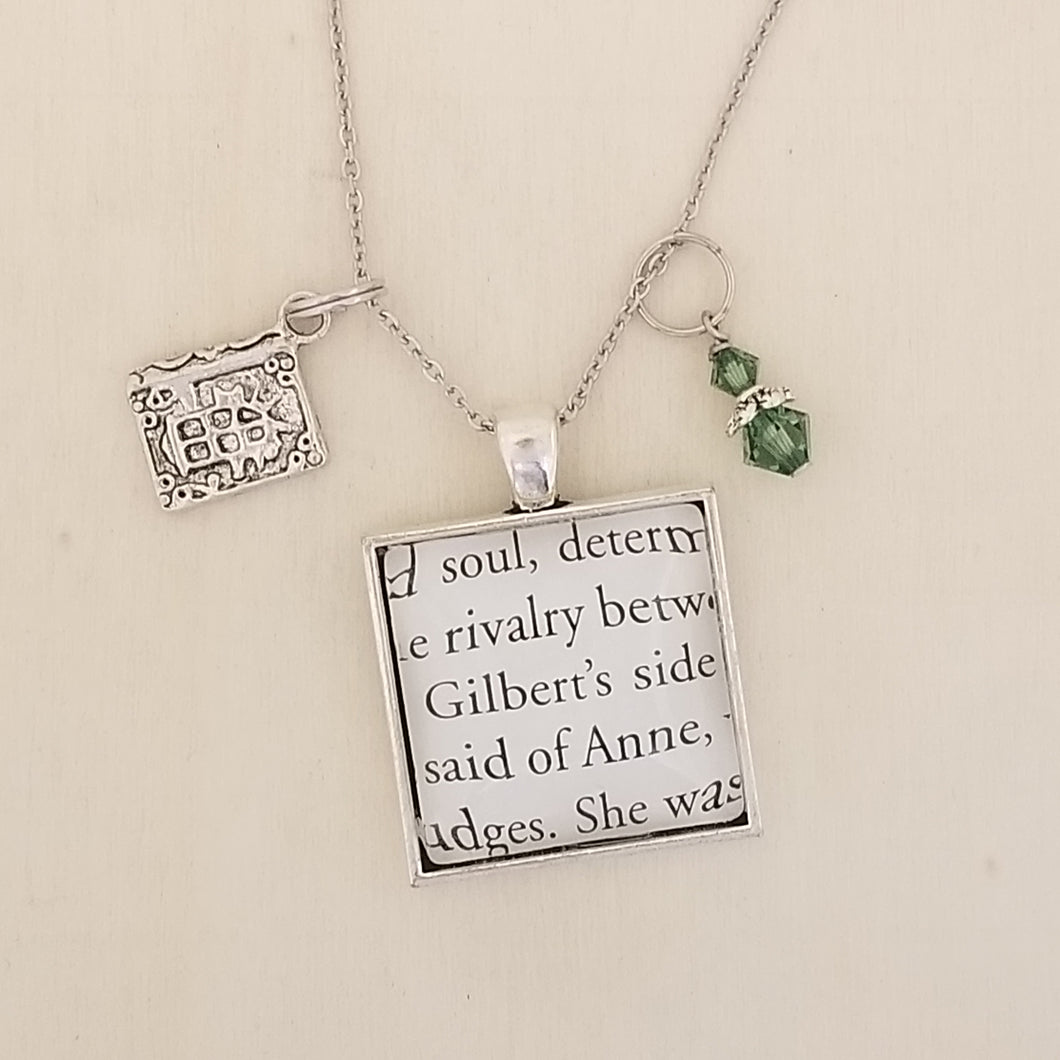 Anne of Green Gables book charm necklace