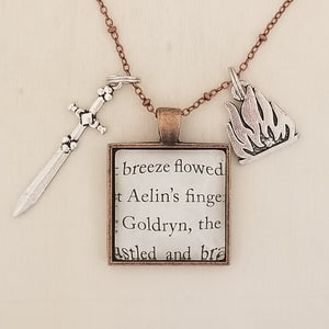 Throne of Glass book charm necklace