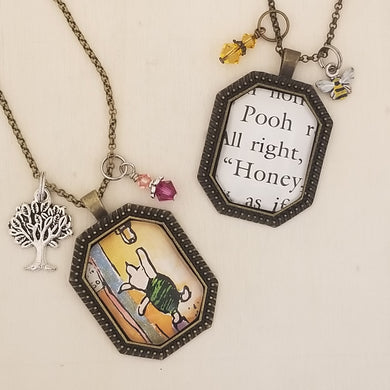 Winnie the Pooh book charm necklace