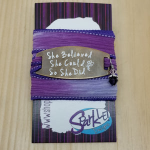 She Believed She Could So She Did silk wrap bracelet