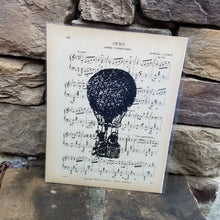 Music Art - Black and White Hot Air Balloon