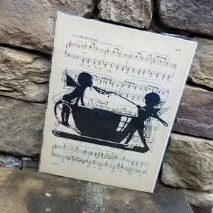 Music Art - Fairy Children with a Teacup and Spoon