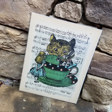 Music Art - Alice, White Rabbit, and Cheshire Cat with Teacup