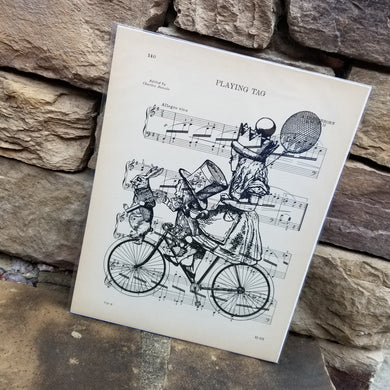 Music Art - Alice and Mad Hatter on Bicycle