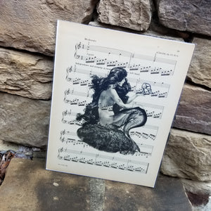 Music Art - Black and White Mermaid