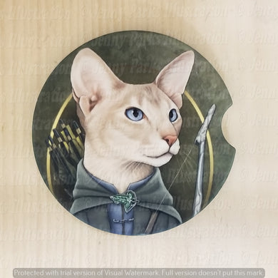 *Licensed* Jenny Parks car coaster  *Lord of the Cats - Legolas*