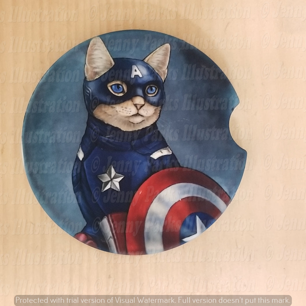 *Licensed* Jenny Parks car coaster  *Captain Americat*
