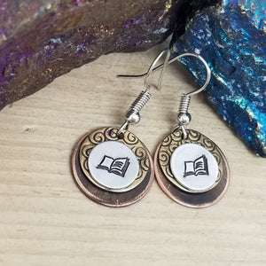 Book Hand Stamped Earrings