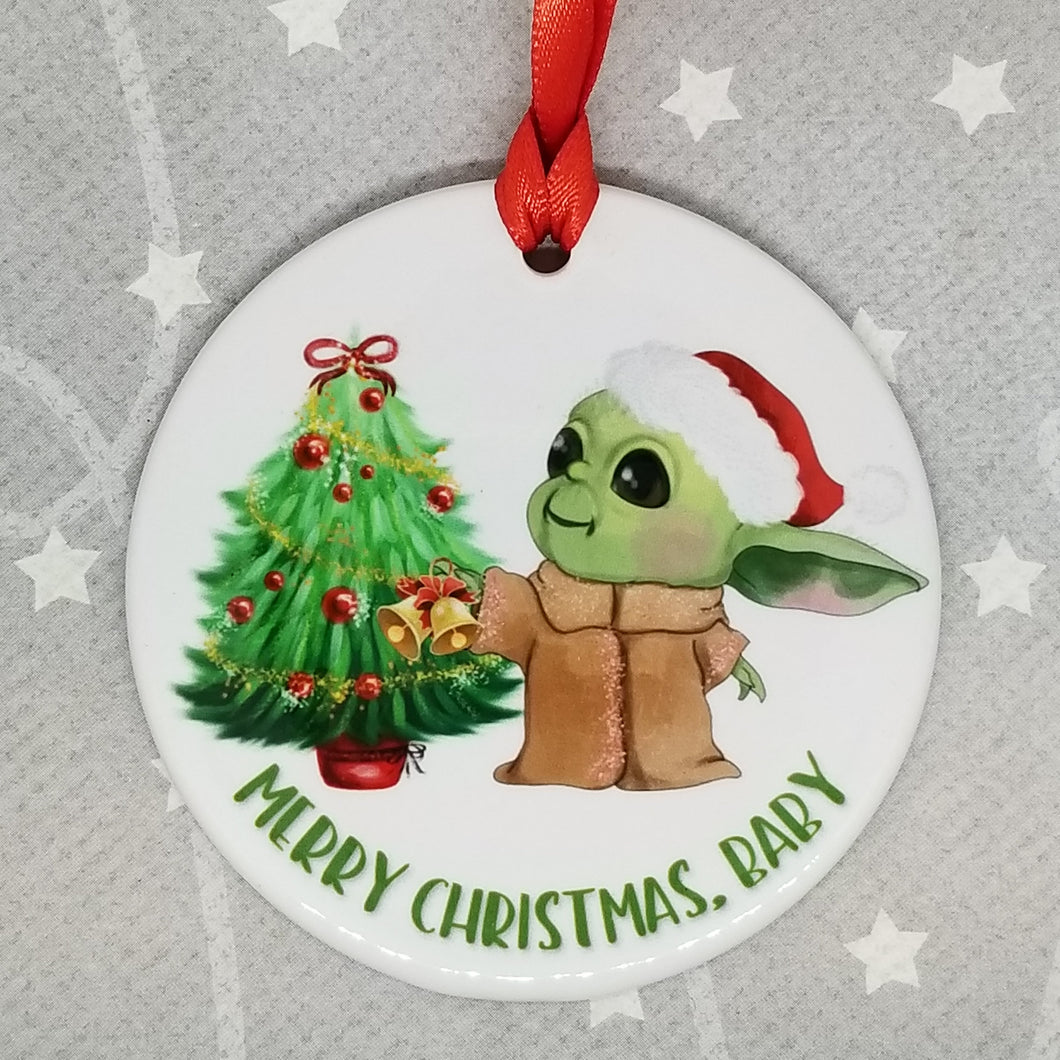 Porcelain ornament - The Child from The Mandalorian inspired - Merry Christmas Baby